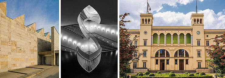 Gebäude von Josef Paul Kleihues (v.l.n.r.): Museum im Kleihues-Bau in Kornwestheim (Bild: Museum im Kleihues-Bau) Treppenauge im Museum für Contemporary Art in Chicago (Bild: Nagel Photography/shutterstock.com) Hamburger Bahnhof in Berlin (Bild: Claudio Divizia/shutterstock.com)